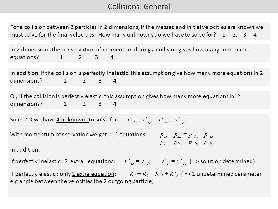 Ch 8 conservation of linear momentum 1near momentum and collisions general in 2 dimensions the conservation of momentum during a collision gives how many biocorpaavc Images