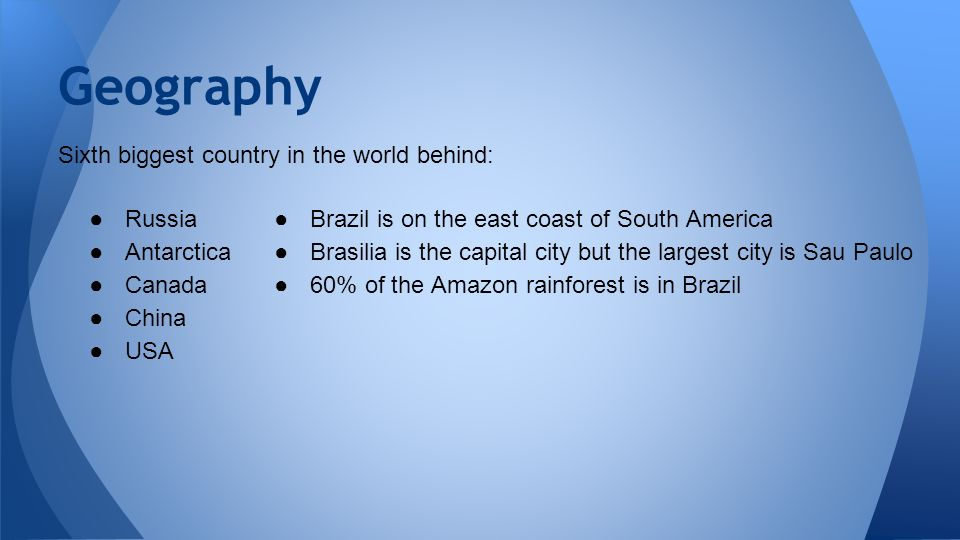 Brazil By Aidan Martin Sixth Biggest Country In The World Behind - What is the biggest country
