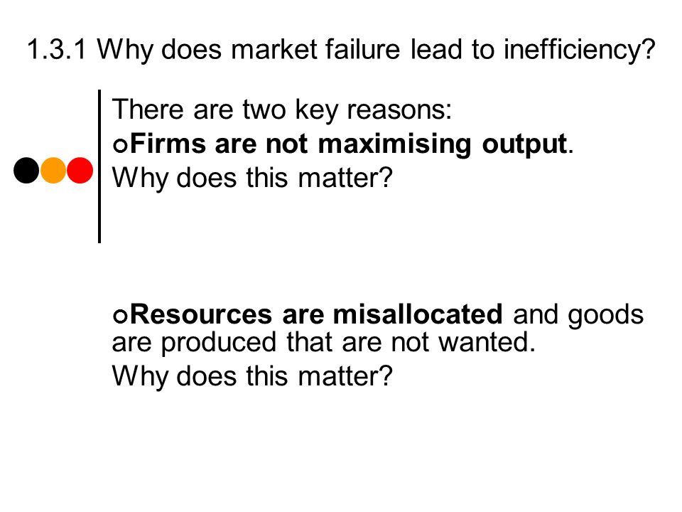 1.3.1 Why does market failure lead to inefficiency.
