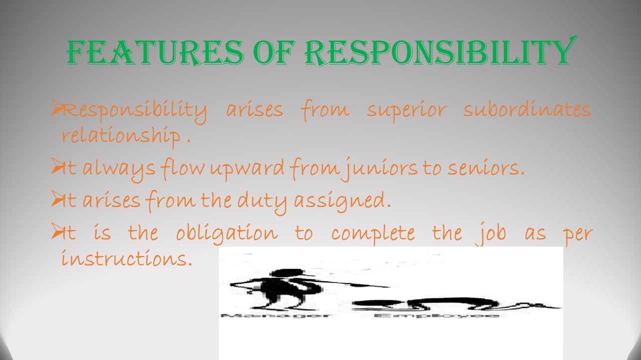 Features of Responsibility  Responsibility arises from superior subordinates relationship.