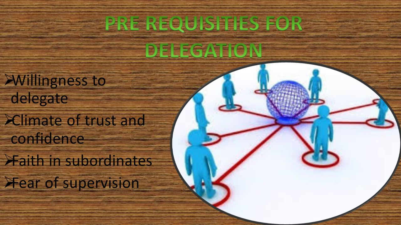  Willingness to delegate  Climate of trust and confidence  Faith in subordinates  Fear of supervision