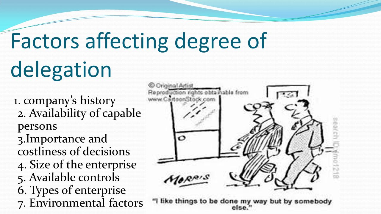 Factors affecting degree of delegation 1. company's history 2.