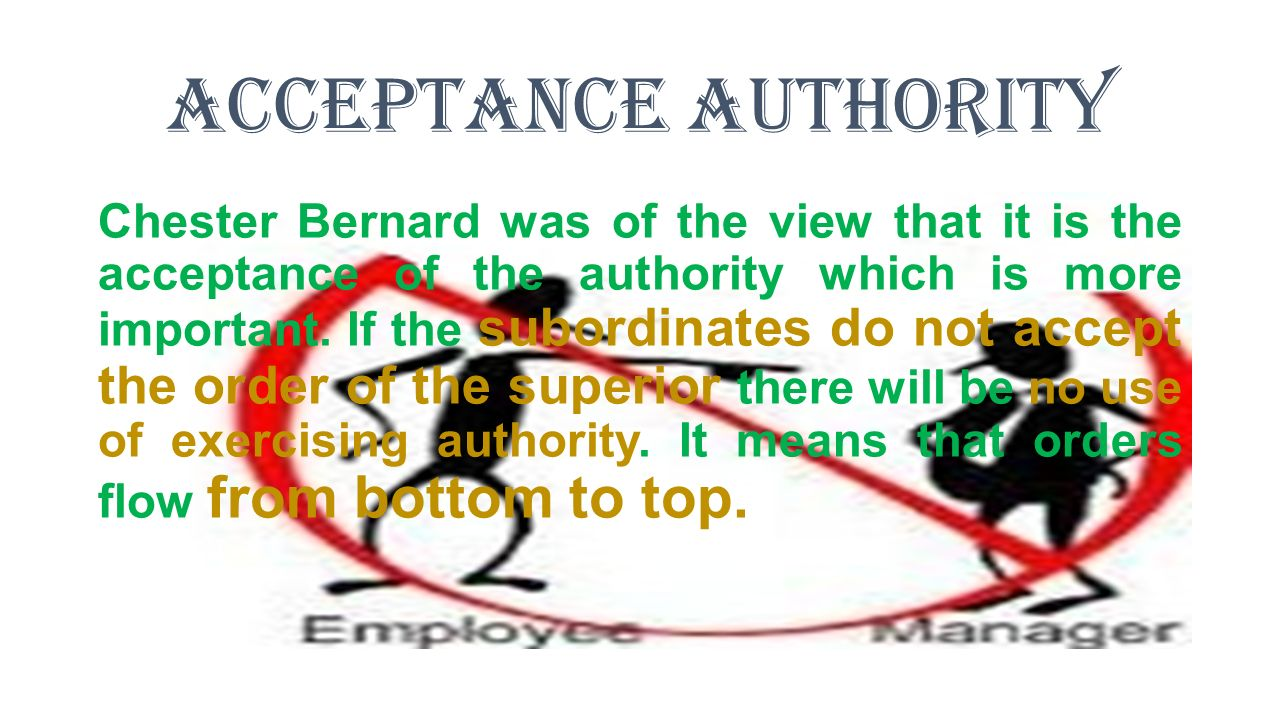 Acceptance Authority Chester Bernard was of the view that it is the acceptance of the authority which is more important.