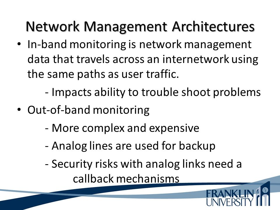 Network Management Architectures In-band monitoring is network management data that travels across an internetwork using the same paths as user traffic.