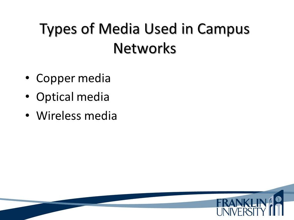 Types of Media Used in Campus Networks Copper media Optical media Wireless media
