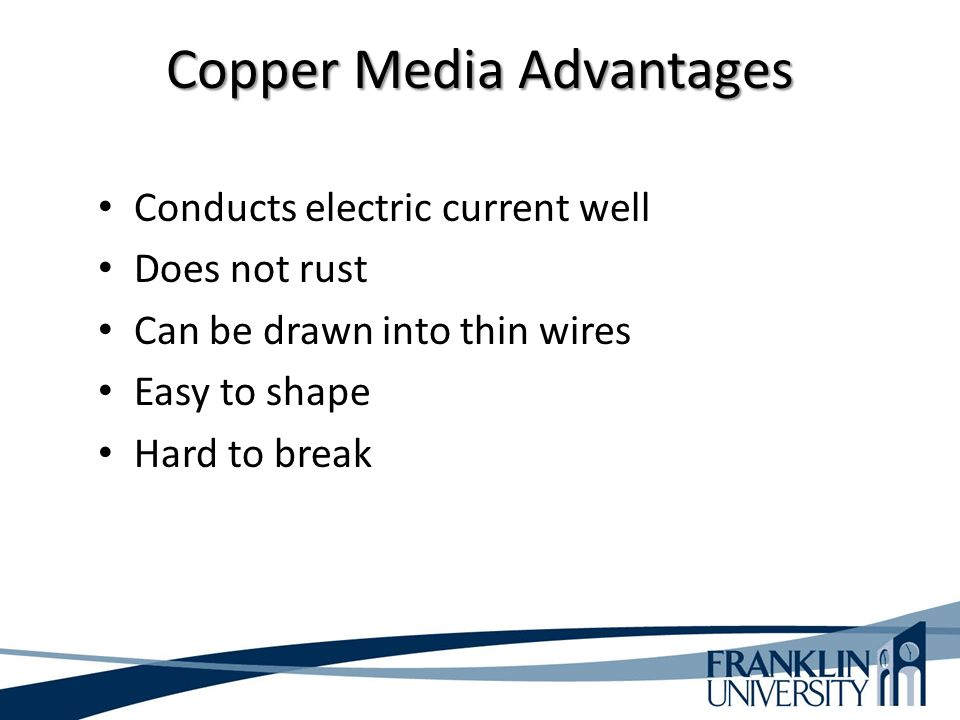 Copper Media Advantages Conducts electric current well Does not rust Can be drawn into thin wires Easy to shape Hard to break