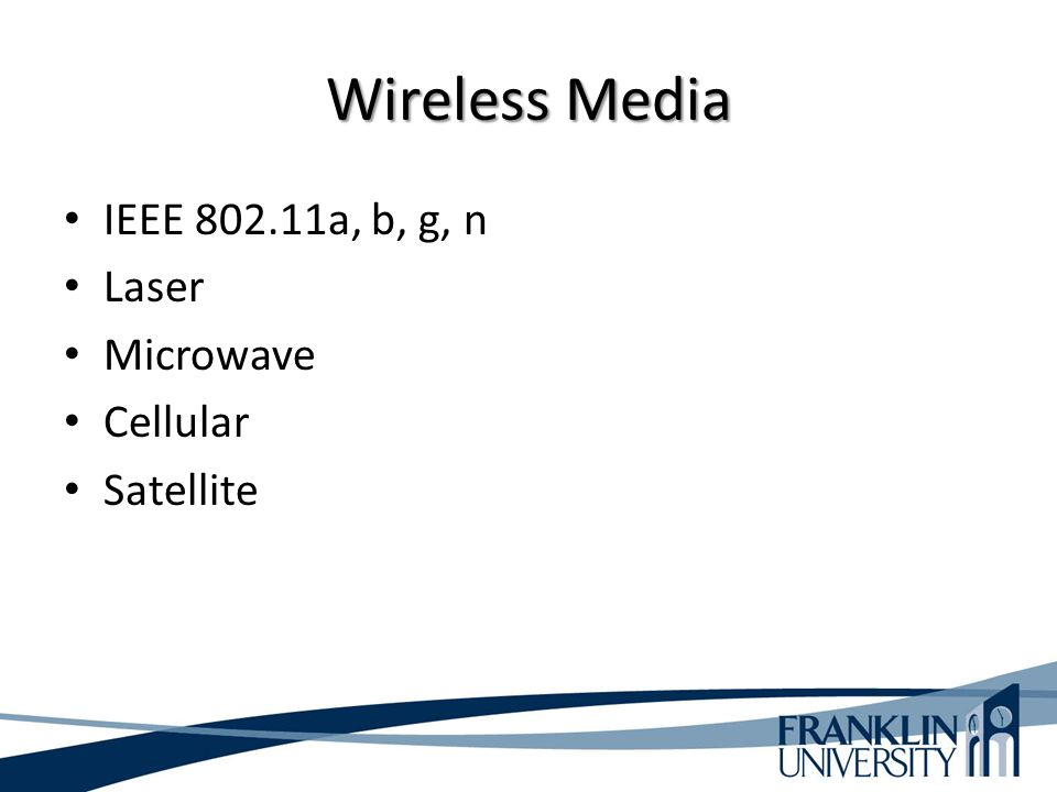 Wireless Media IEEE 802.11a, b, g, n Laser Microwave Cellular Satellite