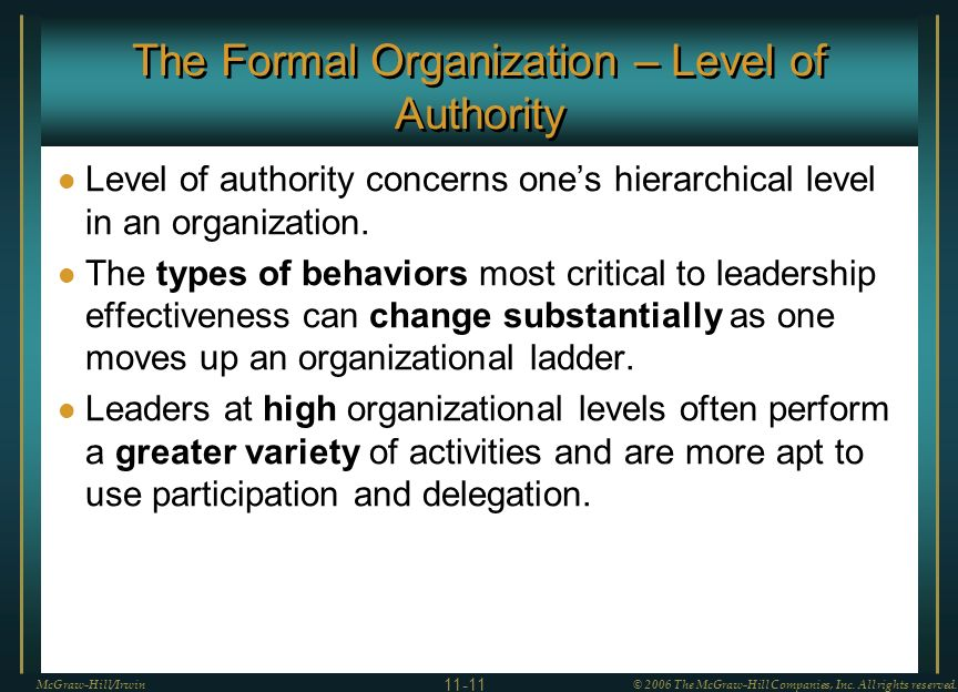 The Formal Organization – Level of Authority Level of authority concerns one's hierarchical level in an organization.