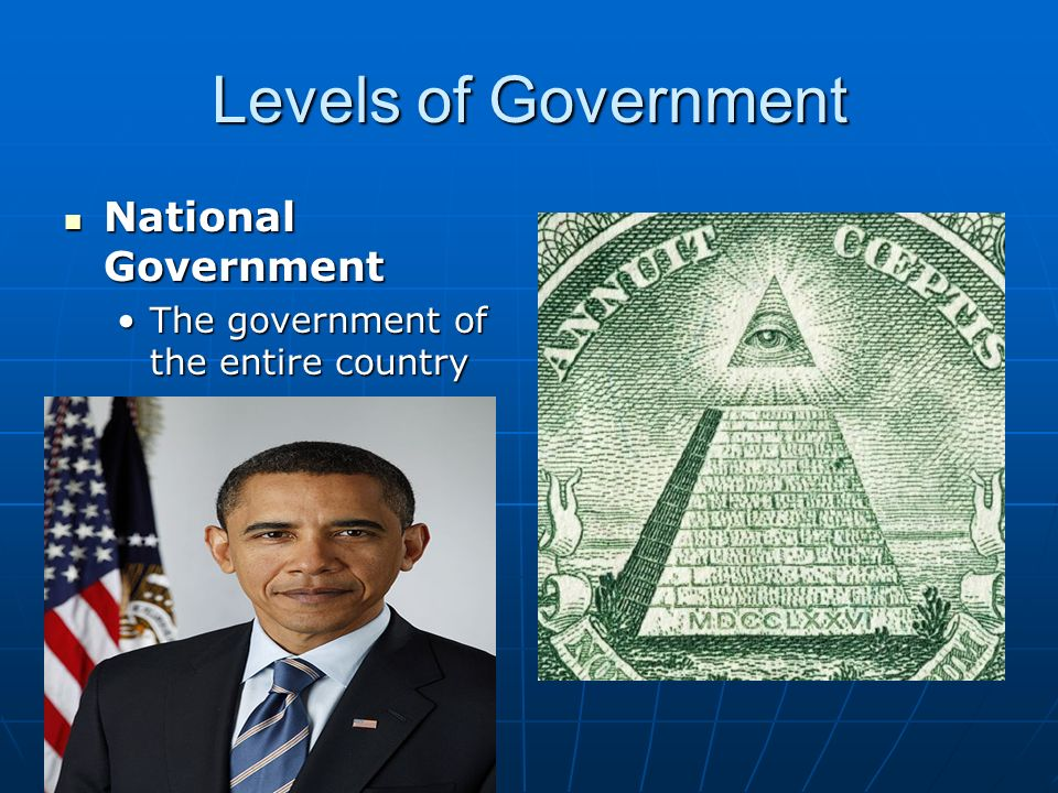 Levels of Government National Government National Government The government of the entire countryThe government of the entire country