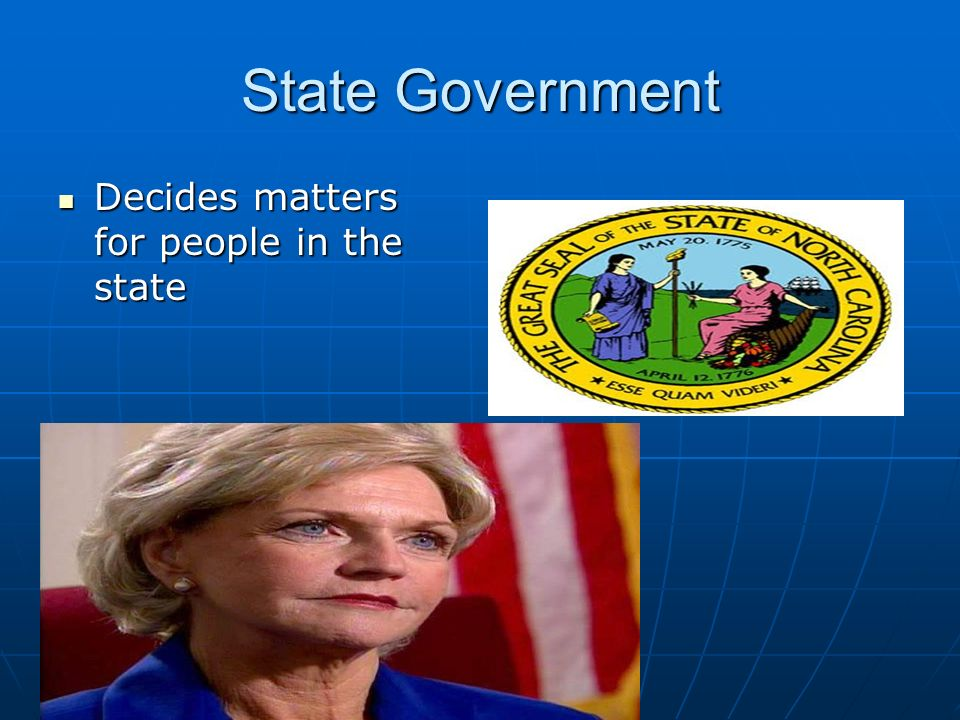 State Government Decides matters for people in the state Decides matters for people in the state