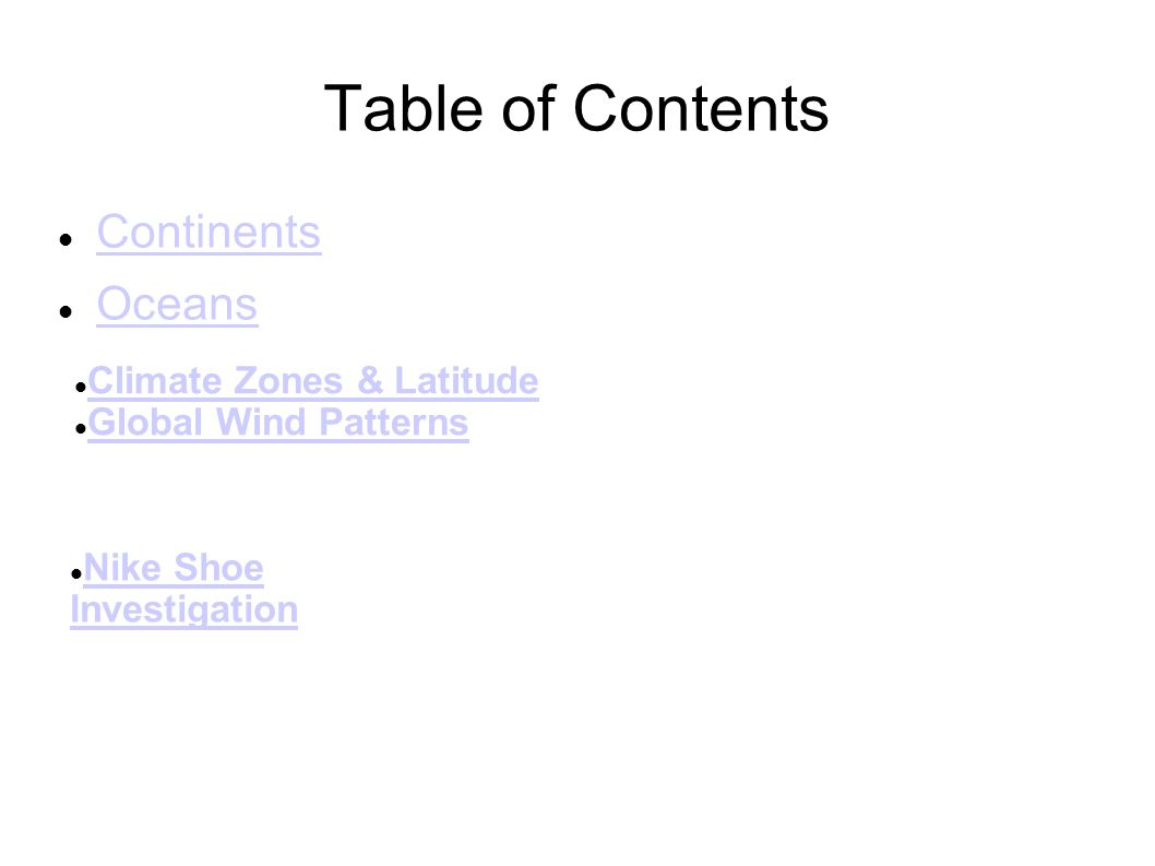 worksheet Global Wind Patterns Worksheet brittney brandt cec wd 2 010611 table of contents continents oceans climate zones latitude global wind patterns nike shoe investigation investigation