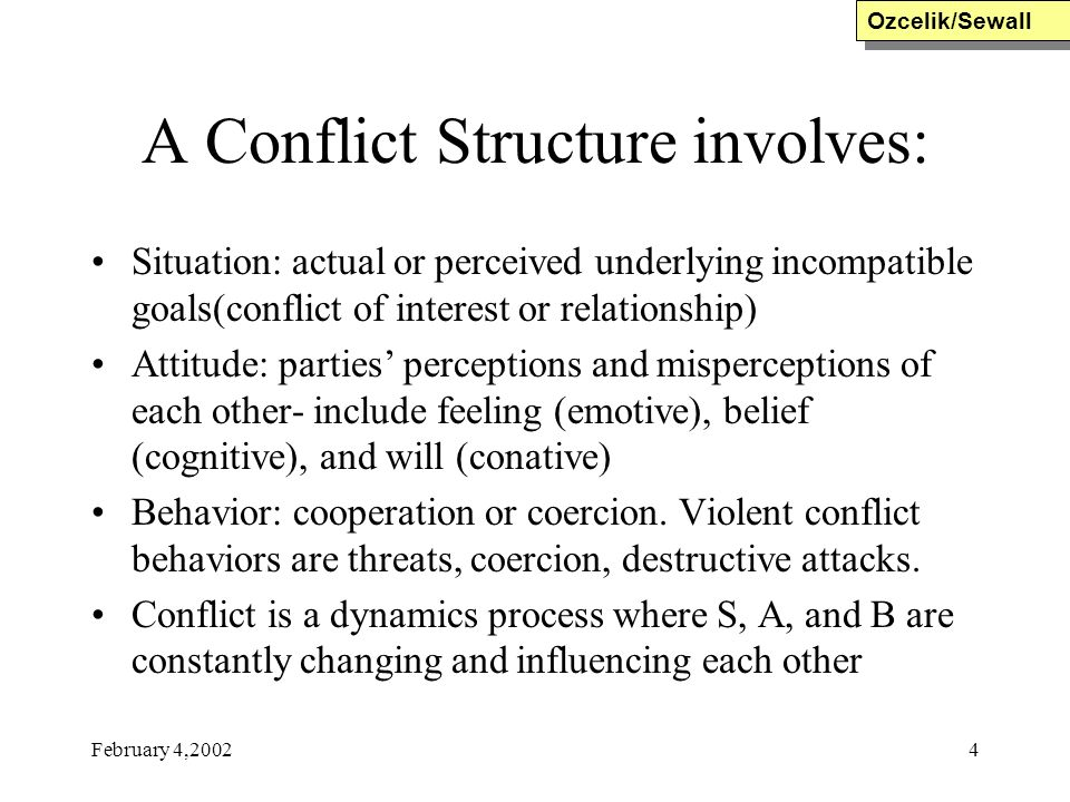 February 4,20024 A Conflict Structure involves: Situation: actual or perceived underlying incompatible goals(conflict of interest or relationship) Att