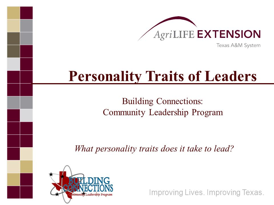 Personality Traits of Leaders Building Connections: Community Leadership Program Improving Lives. Improving Texas. What personality traits does it tak