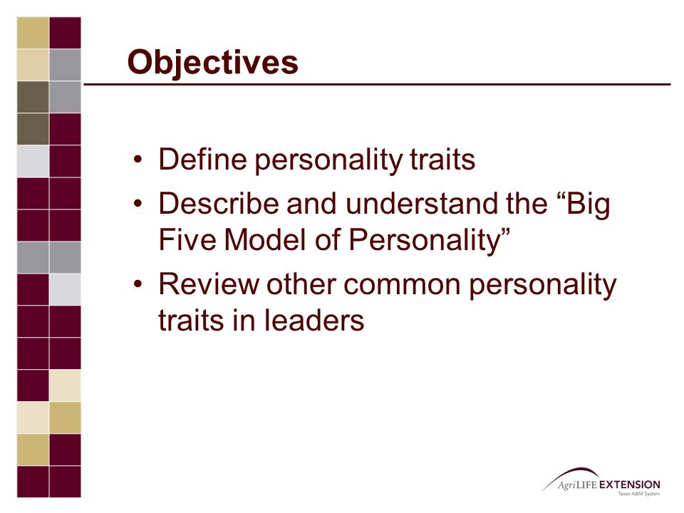 "Objectives Define personality traits Describe and understand the ""Big Five Model of Personality"" Review other common personality traits in leaders"