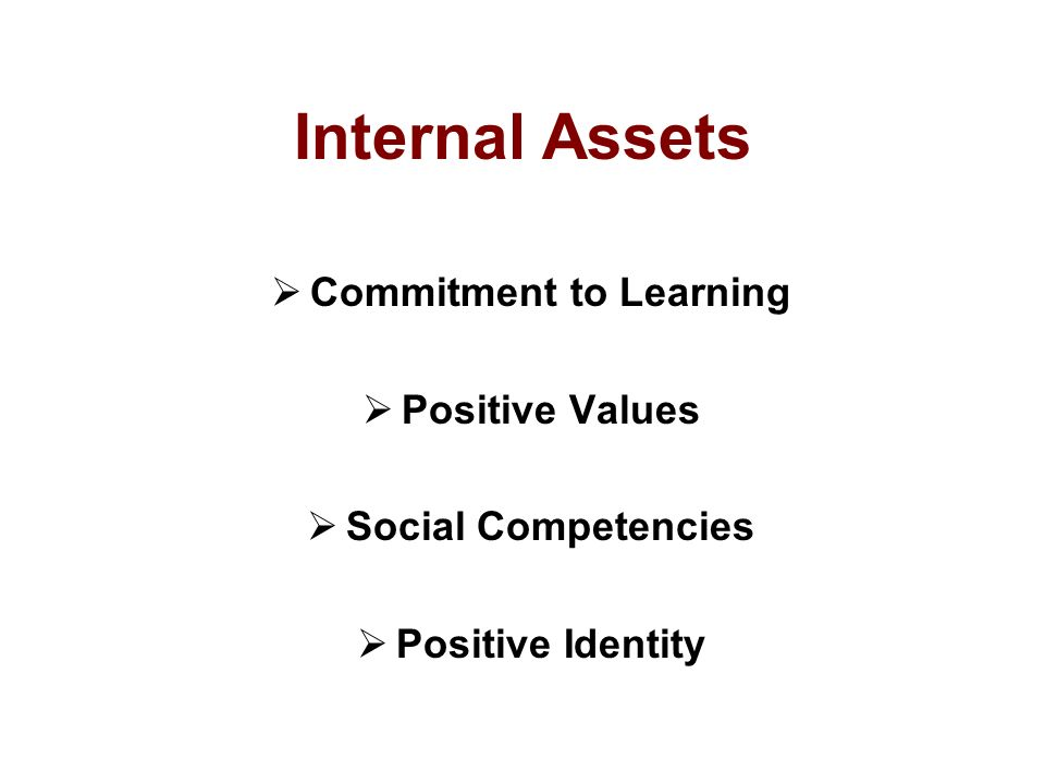 Internal Assets  Commitment to Learning  Positive Values  Social Competencies  Positive Identity