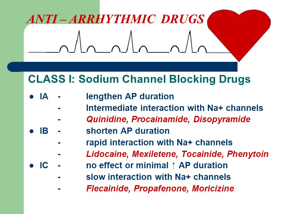 CLASS I: Sodium Channel Blocking Drugs IA-lengthen AP duration -Intermediate interaction with Na+ channels -Quinidine, Procainamide, Disopyramide IB-shorten AP duration -rapid interaction with Na+ channels -Lidocaine, Mexiletene, Tocainide, Phenytoin IC-no effect or minimal  AP duration -slow interaction with Na+ channels -Flecainide, Propafenone, Moricizine ANTI – ARRHYTHMIC DRUGS
