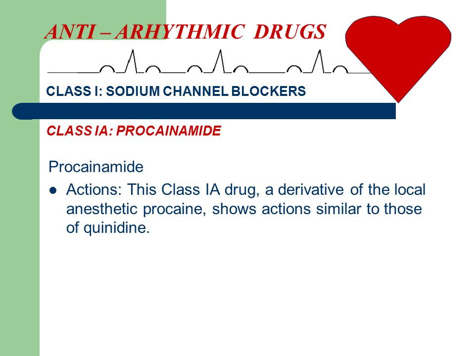 Procainamide Actions: This Class IA drug, a derivative of the local anesthetic procaine, shows actions similar to those of quinidine. ANTI – ARHYTHMIC
