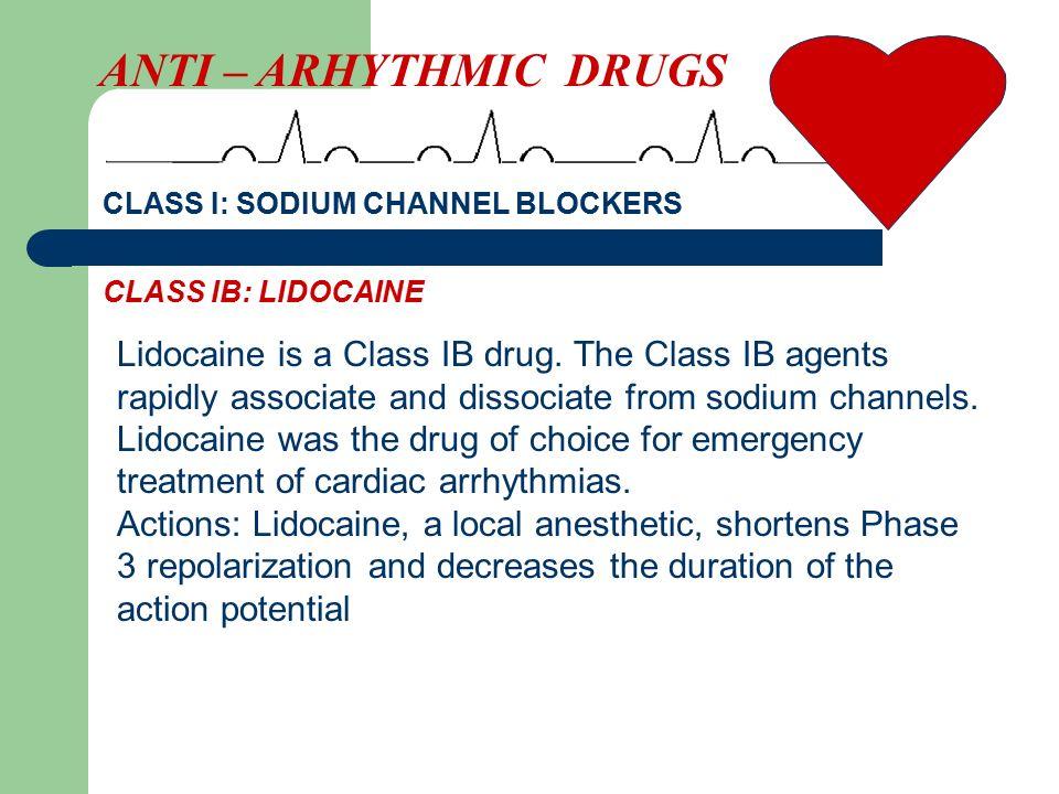 Lidocaine is a Class IB drug.