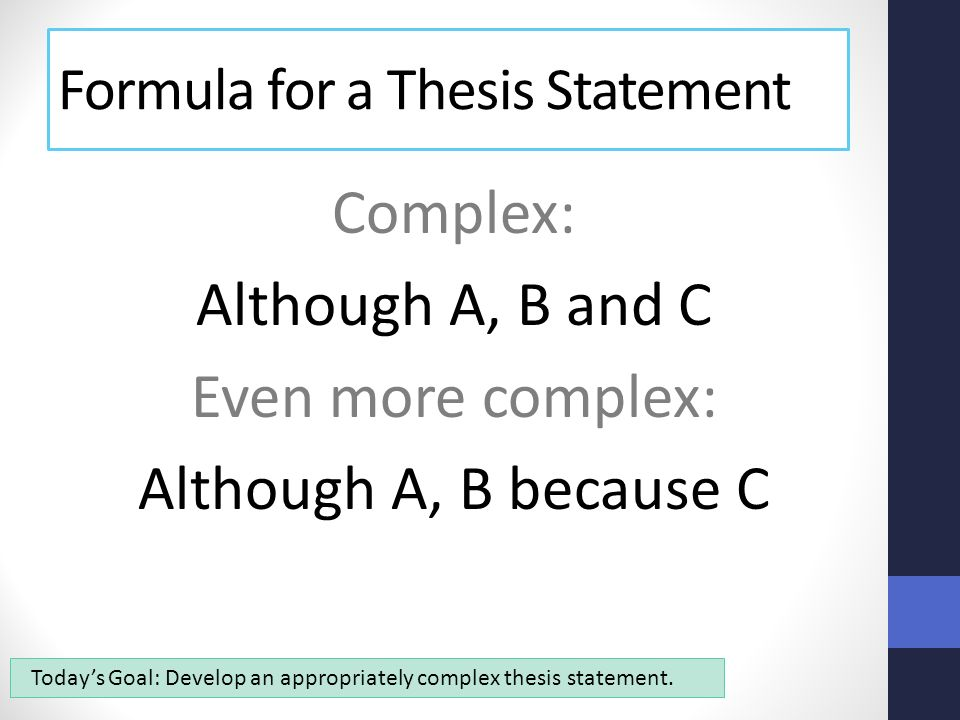 Although thesis statement