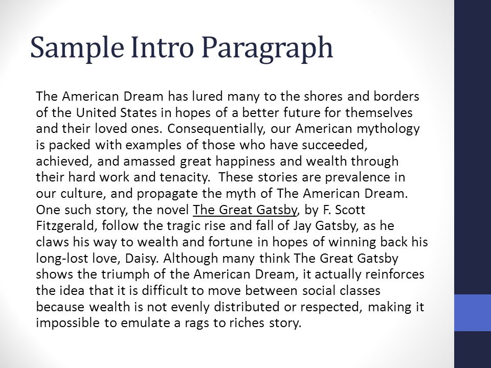 american dream essay thesis american