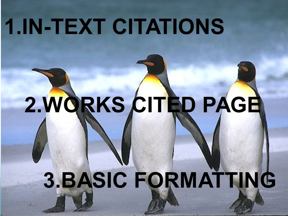3.BASIC FORMATTING 1.IN-TEXT CITATIONS 2.WORKS CITED PAGE