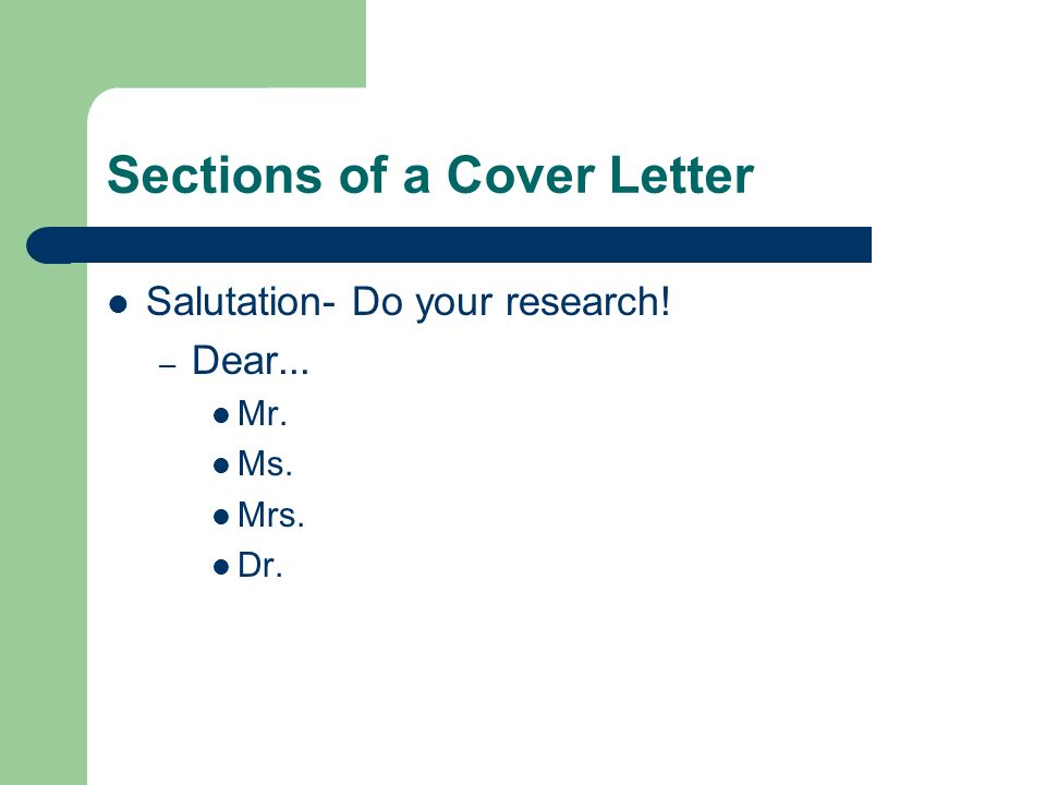 cover letter sections