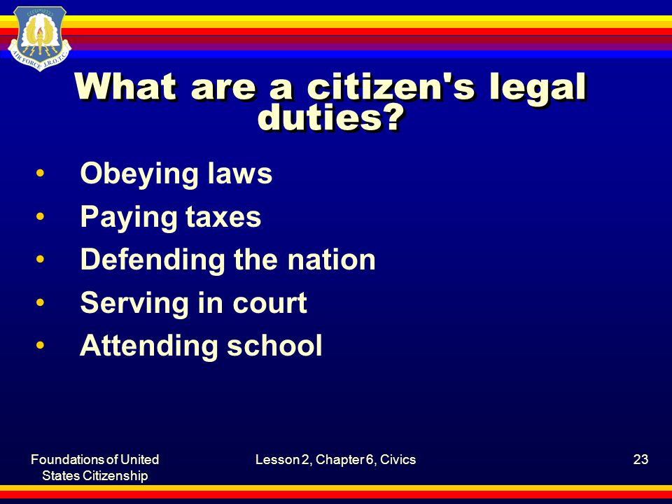 Foundations of United States Citizenship Lesson 2, Chapter 6, Civics23 What are a citizen's legal duties? Obeying laws Paying taxes Defending the nati