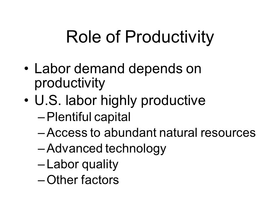 Role of Productivity Labor demand depends on productivity U.S.