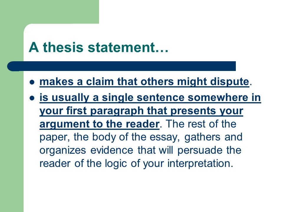 does a thesis statement need to be in the first paragraph Introductions in order for the first paragraph of an essay to actually be a proper introduction (in other words, for it to fulfill the requirements of a proper introduction), it must do two things these two things are: 1) include a thesis statement 2) provide a preview or essay plan for the essay.