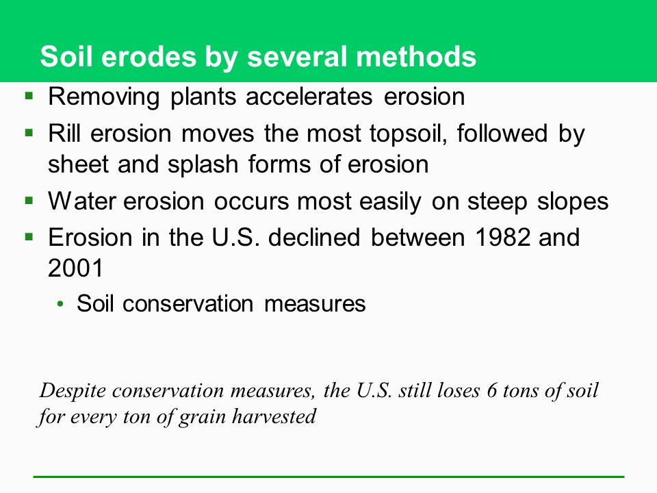 Soil erodes by several methods  Removing plants accelerates erosion  Rill erosion moves the most topsoil, followed by sheet and splash forms of erosion  Water erosion occurs most easily on steep slopes  Erosion in the U.S.