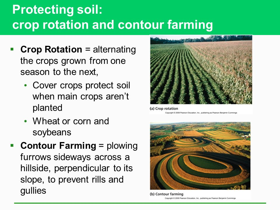 Protecting soil: crop rotation and contour farming  Crop Rotation = alternating the crops grown from one season to the next, Cover crops protect soil when main crops aren't planted Wheat or corn and soybeans  Contour Farming = plowing furrows sideways across a hillside, perpendicular to its slope, to prevent rills and gullies