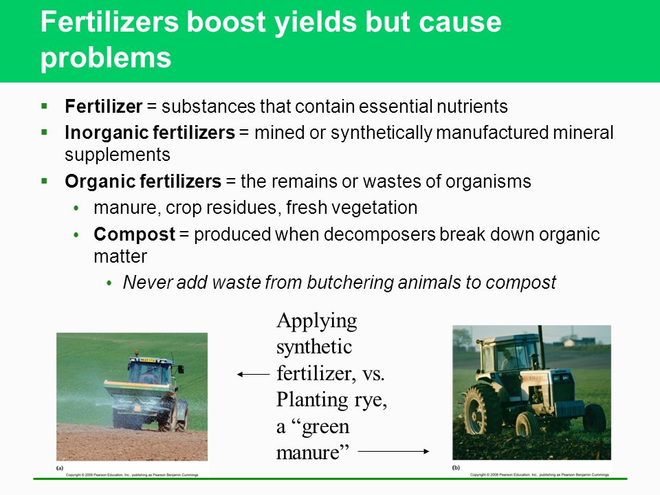 Fertilizers boost yields but cause problems  Fertilizer = substances that contain essential nutrients  Inorganic fertilizers = mined or synthetically manufactured mineral supplements  Organic fertilizers = the remains or wastes of organisms manure, crop residues, fresh vegetation Compost = produced when decomposers break down organic matter Never add waste from butchering animals to compost Applying synthetic fertilizer, vs.