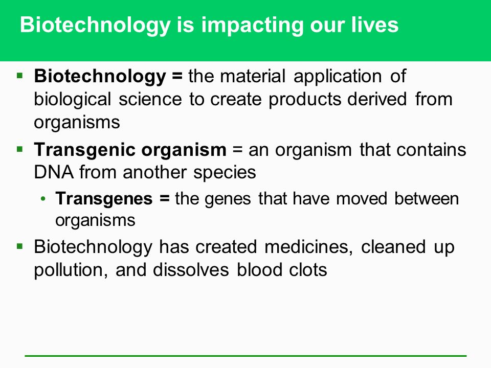 Biotechnology is impacting our lives  Biotechnology = the material application of biological science to create products derived from organisms  Transgenic organism = an organism that contains DNA from another species Transgenes = the genes that have moved between organisms  Biotechnology has created medicines, cleaned up pollution, and dissolves blood clots