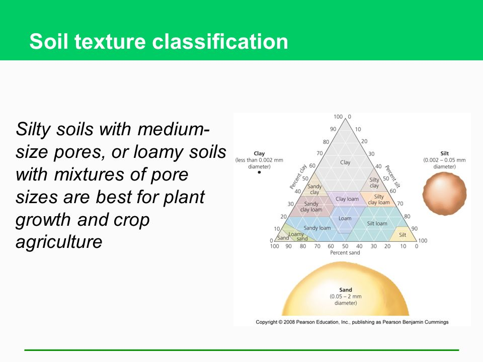 Soil texture classification Silty soils with medium- size pores, or loamy soils with mixtures of pore sizes are best for plant growth and crop agriculture