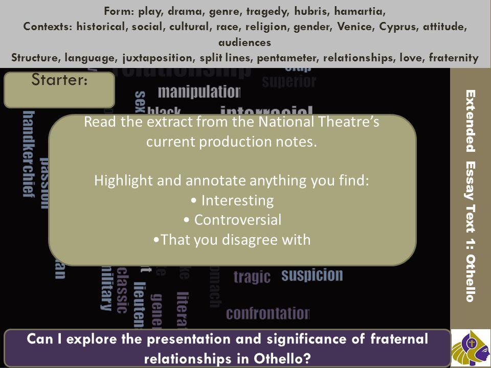a drama in play format essay