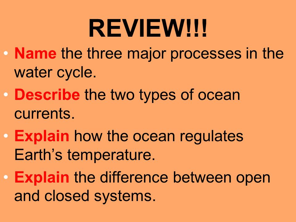 REVIEW!!. Name the three major processes in the water cycle.