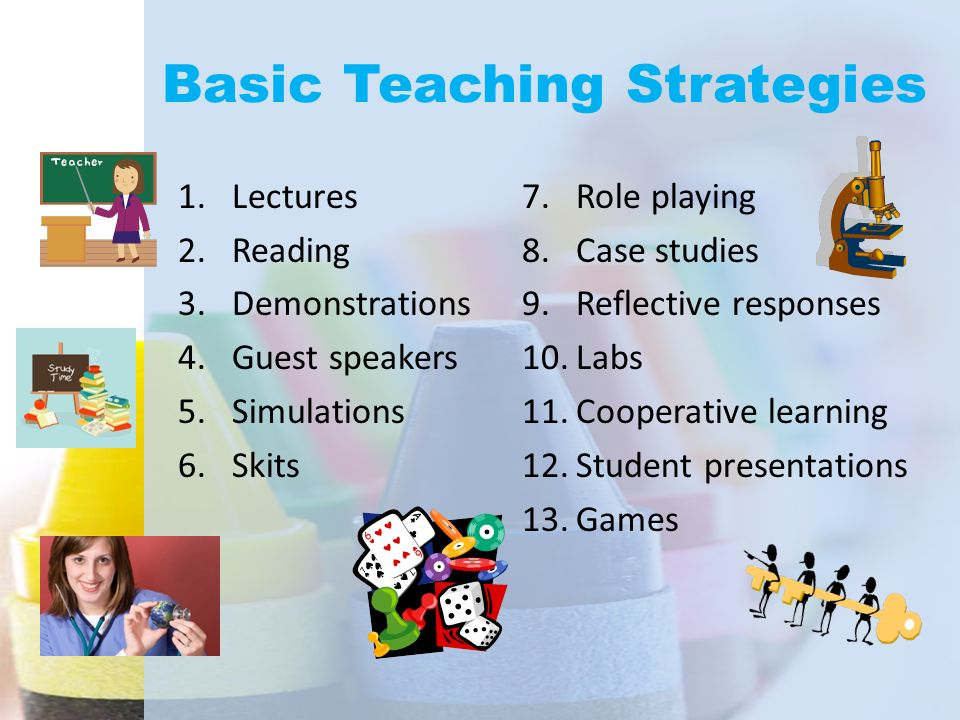 Basic Teaching Strategies 1.Lectures 2.Reading 3.Demonstrations 4.Guest speakers 5.Simulations 6.Skits 7.Role playing 8.Case studies 9.Reflective resp