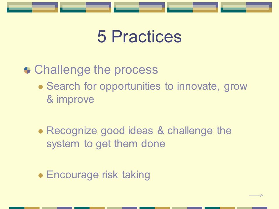 5 Practices Challenge the process Search for opportunities to innovate, grow & improve Recognize good ideas & challenge the system to get them done Encourage risk taking