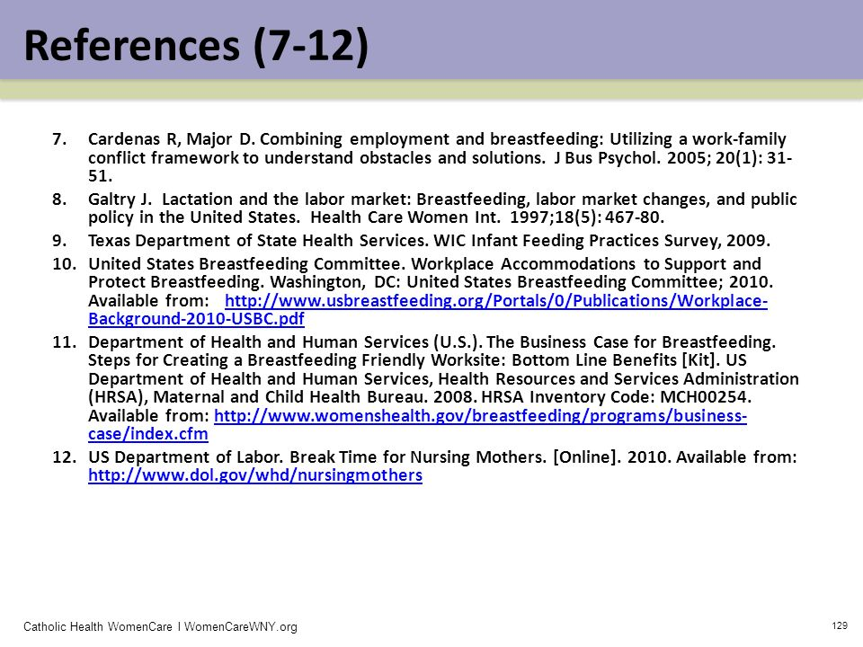 Catholic Health WomenCare l WomenCareWNY.org 129 References (7-12) 7.