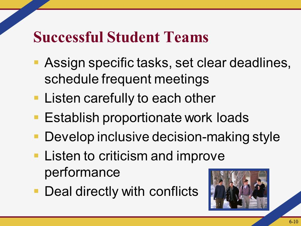 Successful Student Teams  Assign specific tasks, set clear deadlines, schedule frequent meetings  Listen carefully to each other  Establish proport