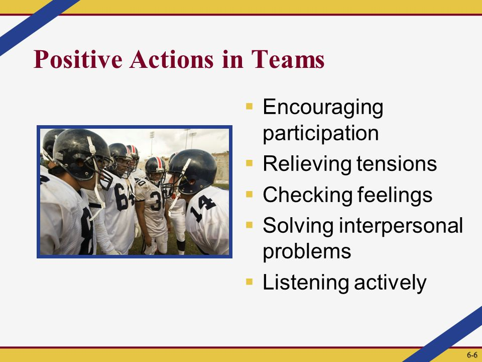 Positive Actions in Teams  Encouraging participation  Relieving tensions  Checking feelings  Solving interpersonal problems  Listening actively 6-6