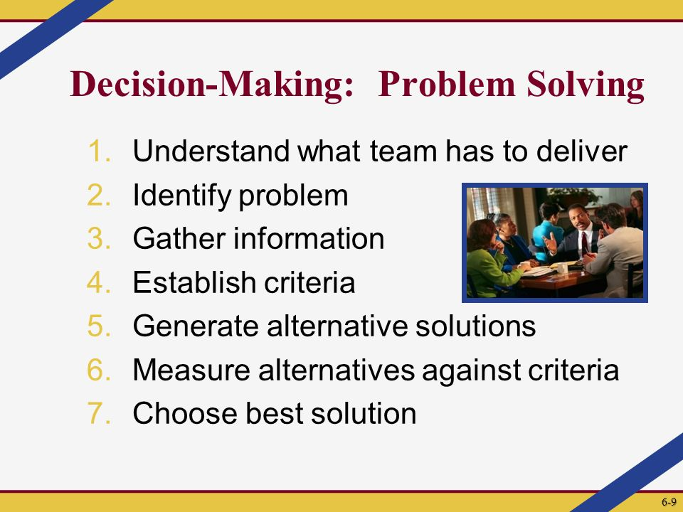 Decision-Making: Problem Solving 1.Understand what team has to deliver 2.Identify problem 3.Gather information 4.Establish criteria 5.Generate alternative solutions 6.Measure alternatives against criteria 7.Choose best solution 6-9