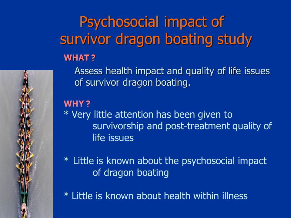 Psychosocial impact of survivor dragon boating study WHAT .