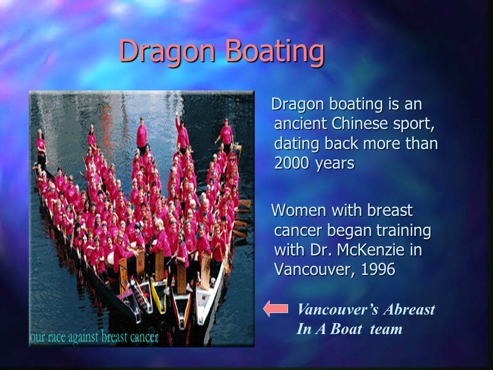 Dragon Boating Dragon boating is an ancient Chinese sport, dating back more than 2000 years Women with breast cancer began training with Dr.