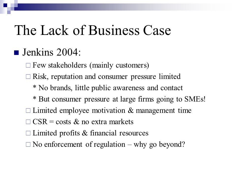 The Lack of Business Case Jenkins 2004:  Few stakeholders (mainly customers)  Risk, reputation and consumer pressure limited * No brands, little public awareness and contact * But consumer pressure at large firms going to SMEs.
