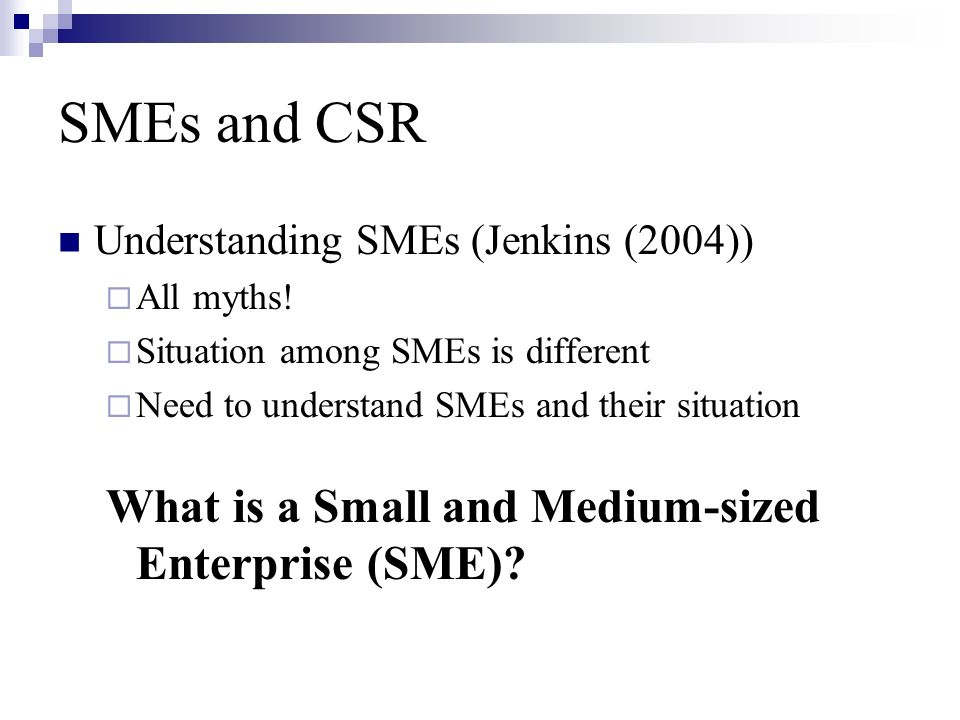 SMEs and CSR Understanding SMEs (Jenkins (2004))  All myths.