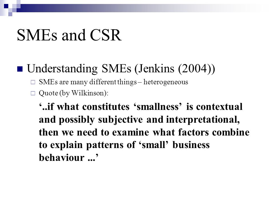 SMEs and CSR Understanding SMEs (Jenkins (2004))  SMEs are many different things – heterogeneous  Quote (by Wilkinson): '..if what constitutes 'smallness' is contextual and possibly subjective and interpretational, then we need to examine what factors combine to explain patterns of 'small' business behaviour...'