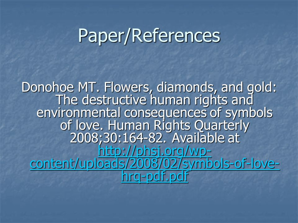 Paper/References Donohoe MT.