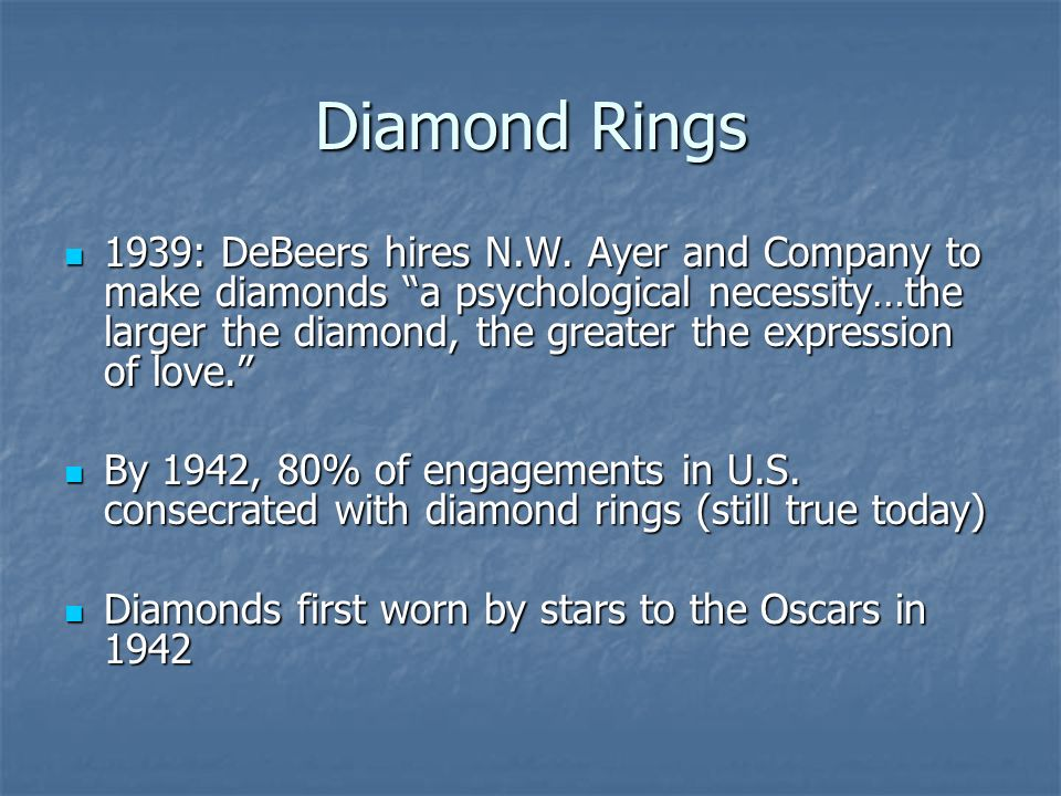 Diamond Rings 1939: DeBeers hires N.W.