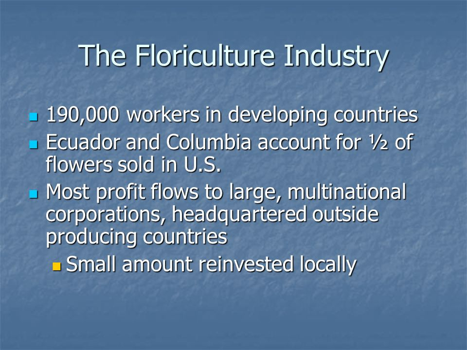 The Floriculture Industry 190,000 workers in developing countries 190,000 workers in developing countries Ecuador and Columbia account for ½ of flowers sold in U.S.
